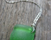 Green Bottle Top Seaglass Necklace