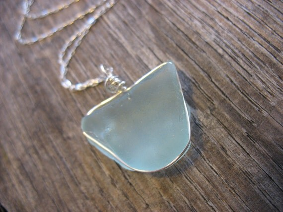 Genuine Santa Barbara Frosted Blue Seaglass Necklace