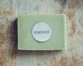 48 Homemade or Handmade Hand-Stamped Kraft Circle Stickers