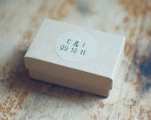 48 Wedding Kraft Circle Stickers with Hand-Stamped Initial & Date for Favors and Envelope Seals - woodandgrain