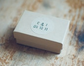 48 Wedding Kraft Circle Stickers with Hand-Stamped Initial & Date for Favors and Envelope Seals