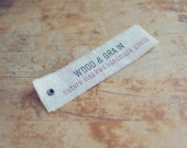 50 Linen Eyelet Labels Hand-Stamped with Custom 2 Line Message for Businesses