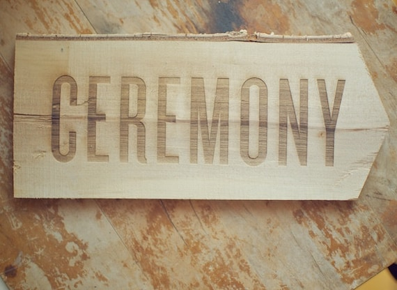 Birch Wood Ceremony Arrow Sign for Rustic Wedding