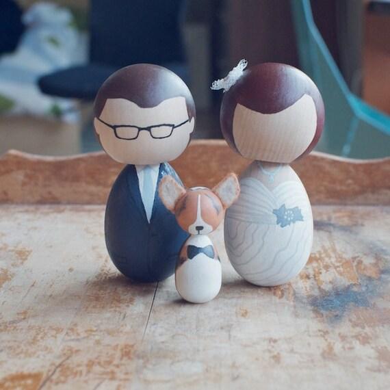 Reserved for Rhonda - 3 Custom Wooden Dolls Wedding Cake Topper or Anniversary Gift