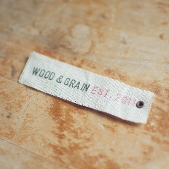 50 Linen Eyelet Labels Hand-Stamped with Custom 1 Line Message for Businesses