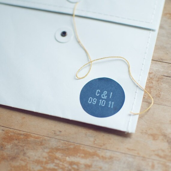 48 Wedding Navy Blue Circle Stickers with Hand-Stamped Initial & Date for Favors and Envelope Seals