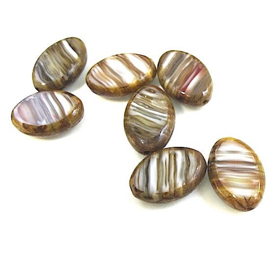 Brown Czech Glass Beads Marbled Streaks on White 16mm Flat Ovals 7 Pieces