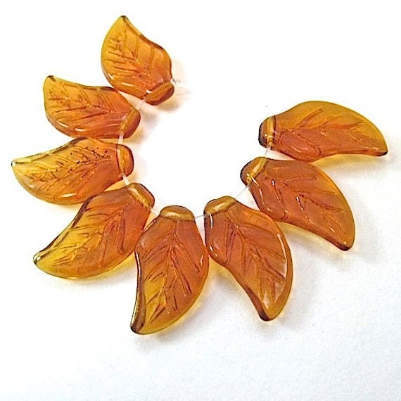 German Glass Leaf Beads Vintage Topaz Autumn Leaves Fall Color 22mm x 12mm 8 Pieces