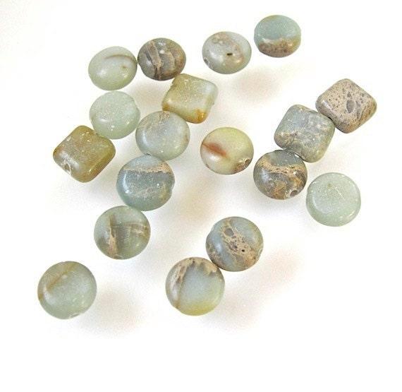 Aqua Terra Jasper Gemstone Beads 8mm Seafoam Green & Sand Squares and Coin Lentils - 18 Pieces
