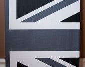 Union Jack, offset, black and white, 16 x 20, acrylic on canvas, hand painted original - OurJack