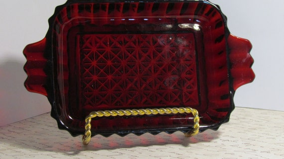 Royal Ruby Red Anchor Hocking Glass Relish/Condiment Dish