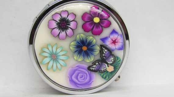 Polymer Clay Covered Pill Box Case Compact with Butterfly PB15