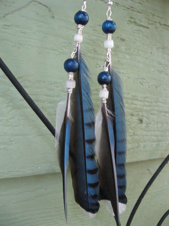 SALE-- 40% Off --Natural Bluebird Feather Earrings with Quartz and Wooden Bead Accents