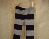 Sale - Sale - Sale - PRICE REDUCED - cotton/wool grey/black stripe loungers - baby pants