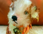 Adorable Vintage Steiff  Molly Dog-ALL IDs,RSButton,Flag3310,00,Chest Tag-Original Ribbon & Bell-VGCondition