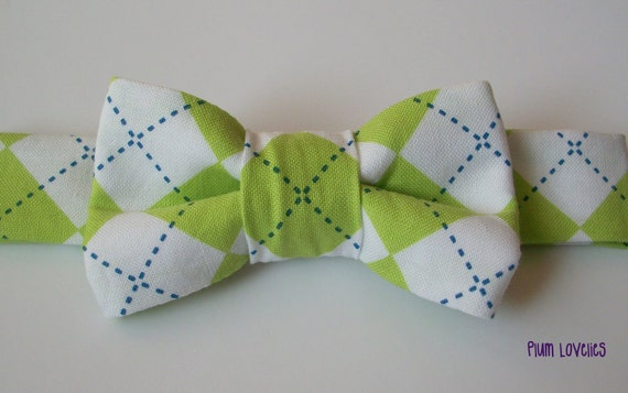 Argyle Baby Bowtie- Lime Green, Navy and White Toddler Bowtie
