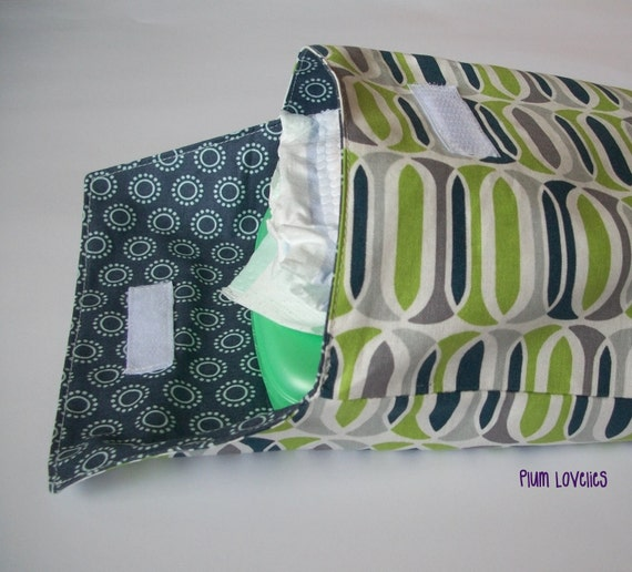 Gray Lime Green and White Diaper Clutch  Diapers and Wipes Case