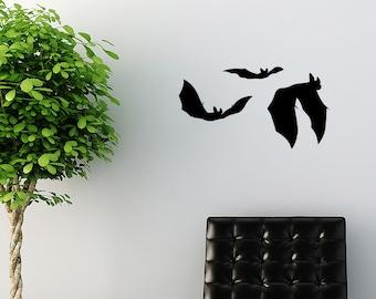 Halloween Decoration 3 Flying Bats Vinyl Decal, Wall Stickers - ID04