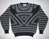 Vintage 80s 1980 Hipster Triangles Black Sweater Ugly Christmas Party Tacky Gaudy Xmas L Large