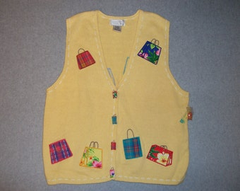 Yellow Shop Til You Drop Sweater Vest Button Up Ugly Christmas Party Tacky Gaudy X-Mas Holiday Present XL Extra X Large