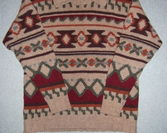 Aztec Nordic Earth Tones Sweater Hipster Indie Ugly Christmas Party X-Mas Tacky Gaudy Winter Warm Holiday Tribal M Medium