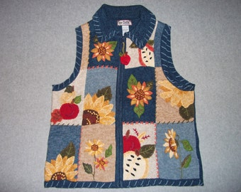 Sunflower Harvest Fest Sweater Vest Ugly Crazy Christmas Party Tiara International Tacky Gaudy L Large