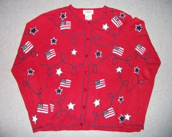 Patriotic American Flag 4th Fourth Of July Sweater Long Sleeve Tacky Gaudy Ugly Christmas Party X-Mas M Medium