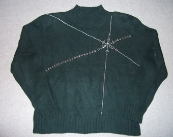 Dark Green Beaded Snowflake Sweater Long Sleeve Ugly Christmas Party Tacky Gaudy X-Mas Winter Warm L Large