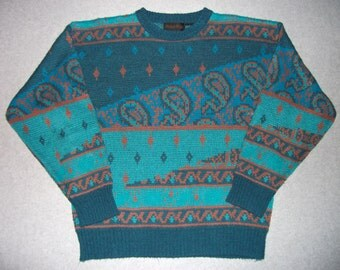 Vintage Hipster Paisley 80s 90s Nordic Ski Sweater Long Sleeve Winter Tacky Gaudy Ugly Christmas Party X-Mas Holiday 1980s L Large M Medium