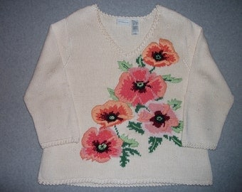 Beautiful Flowers Cream Sweater Winter Warm Tacky Gaudy Ugly Christmas Party X-Mas Beaded Flower XL Extra Large