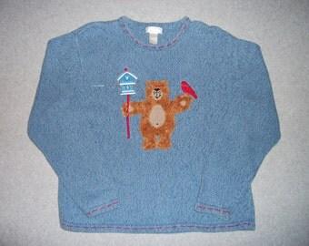 Love Bird Fuzzy Teddy Bear Red Cardinal House Sweater Ugly Christmas Party Tacky Gaudy X-Mas XL Extra Large