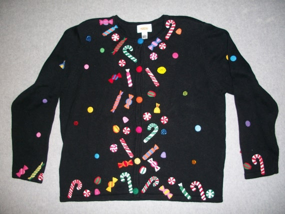 Vintage candy cane black sweater button up ugly christmas party long