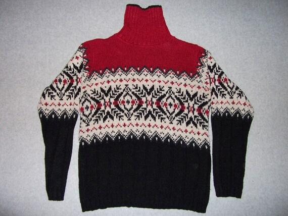 Turtleneck Nordic Ski Long Sleeve Sweater Ugly Christmas Sweater M Medium Made in USA Tacky Gaudy