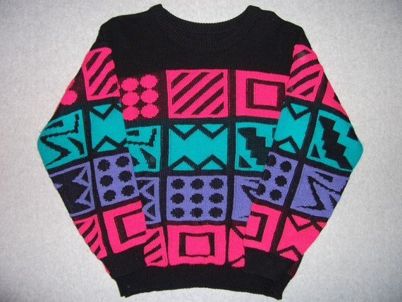 Vintage Hipster 1980s/1990s Geometric Bright Colors Sweater 80s 90s Ugly Christmas Party X-Mas Tacky Gaudy M Medium