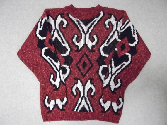Red Hipster 1980s 80s Nordic Ski Sweater Abstract Art Ugly Christmas Party Tacky Gaudy X-Mas Made In USA Winter Warm Holiday M Medium