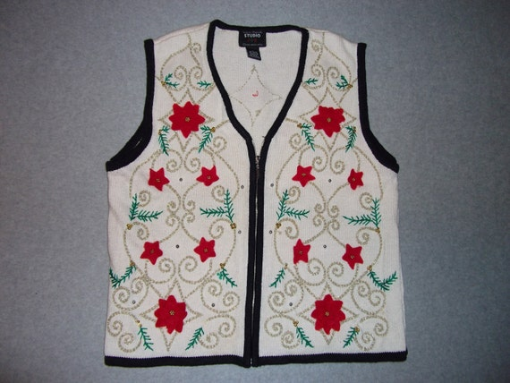 Poinsettia Flower Sparkle Gold Sweater Zest Zip Up Ugly Christmas Party Tacky Gaudy X-Mas L Large M Medium