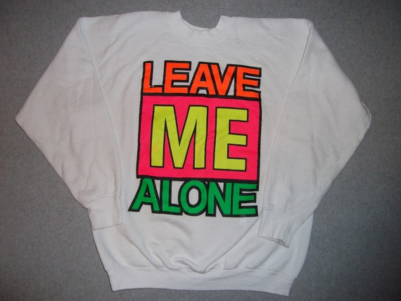 Vintage 80s/90s Hipster Leave Me Alone Valentines Day Sweatshirt Neon Tacky Gaudy Ugly Christmas Sweater Party XL Extra Large