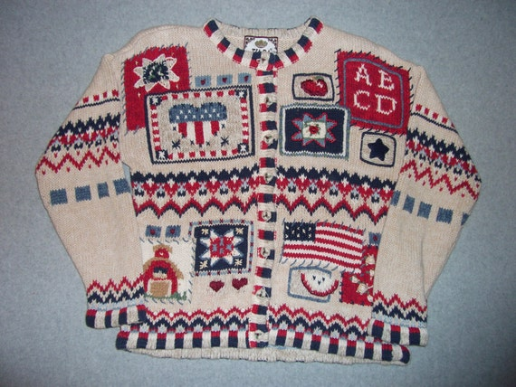 Red White and Blue 4th of July Teacher Sweater Button Up Shoulder Pads Long Sleeve Fireworks Ugly Christmas Party Tacky Gaudy X-Mas M Medium