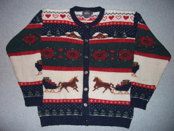 Winter Valentines Day Sweater Horse and Carriage Grandma Nordic Button Up Ugly Christmas Party Tacky Gaudy X-Mas XL Extra Large