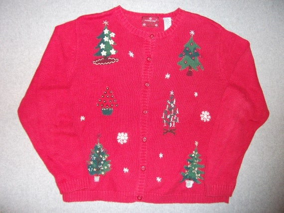 O Christmas Tree Winter Wonderland Button Up Long Sleeve Red Sweater Tacky Gaudy Ugly X-Mas Party Warm XL Extra Large 18