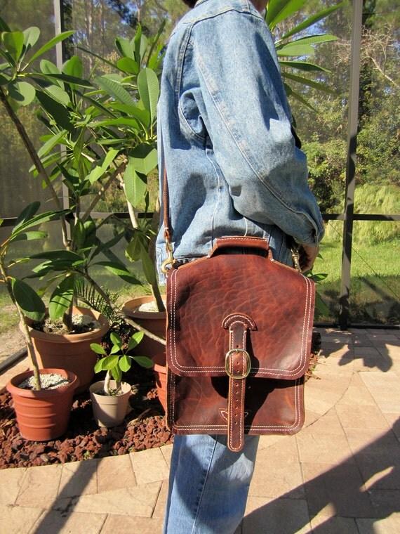 Brown leather Cross chest messenger bag back pack