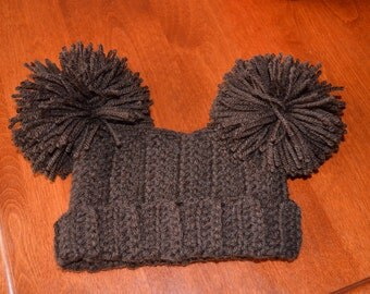Newborn Photo Prop Crocheted Pom Pom Hat Chocolate Brown Colour MADE TO ORDER