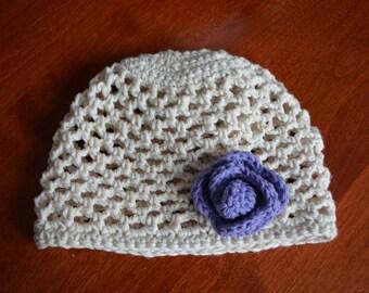 Crocheted Cloche Hat 100% Cotton Infant 6-12 Months White Purple Crochet Flower