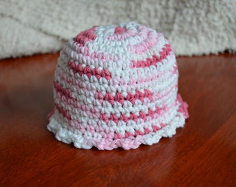 Crocheted Scalloped Newborn Hat Cotton Baby Photo Prop Pink White So Adorable