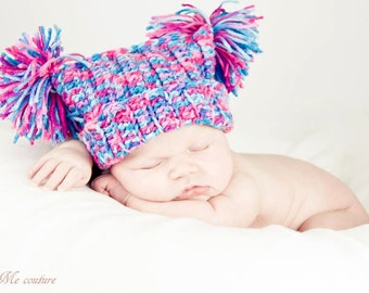 Newborn Photo Prop Crocheted Pom Pom Hat Cotton Candy Dreams 0-3 Months MADE TO ORDER