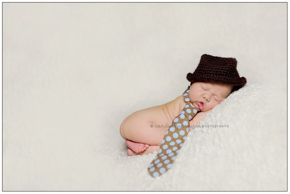 Crocheted Newborn Brown Fedora Cowboy Hat Baby Boys Photo Prop 0-3 Months MADE TO ORDER