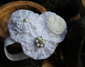 baptism vintage inspired White Flower Headband