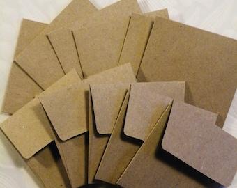 """24 Envelopes, Mini Envelopes Square, Repurposed Craft Paper, Mini Envelopes, Square Envelopes 2-1/4"""" x 2-1/4"""