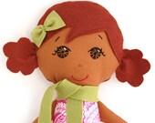 Cloth Doll Ethnic Brown Hair and Brown Eyes My Gigi Doll - Symone
