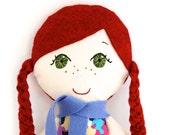 Cloth Doll Redhead with Green Eyes and Freckles My Gigi Doll  - Kat